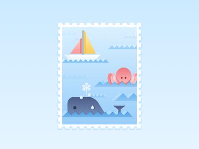 Sea Creatures Illustration stamp artwork illustrator waves wave boat sea octopus wale icons illustration
