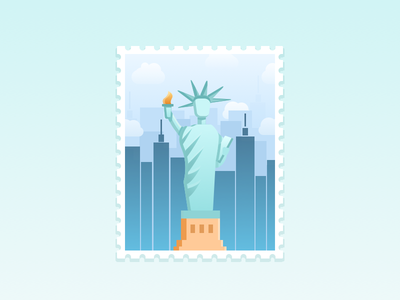 NYC Stamp Illustration new york city stamp statue illustrator illustration icons nyc artwork