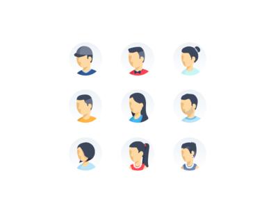 Illustrated Avatars profile placeholder shading face characters avatars avatar illustrations illustration