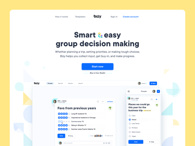 Bizy Landing Page questionnaire question survey poll collaboration collaborate bizy header landing page website homepage home page application web app webapp screenshot