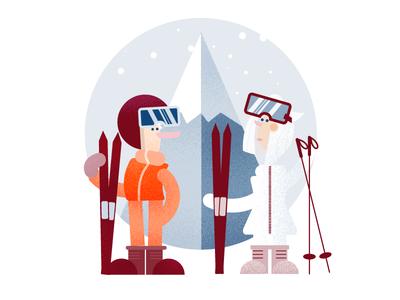Skiiing Infographic Character Design