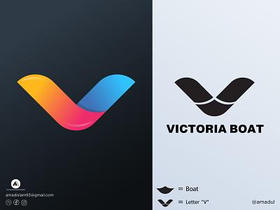 V  Logo | Victoria Boat Logo logo and branding creative icon lettermark modern logo symbol gradient overlay minimal flat combination mark abstract logo victoria logo boat logo v logo colorful logo logos branding vector logo graphic design