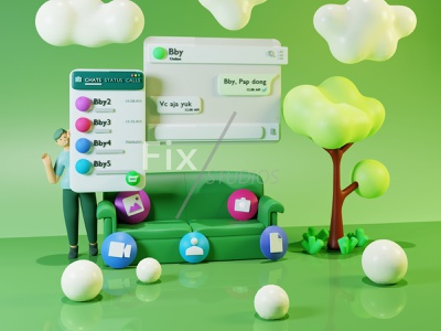 3D Illustration about Whatsapp Interface graphic design logo typography minimal app ux ui icon design illustration
