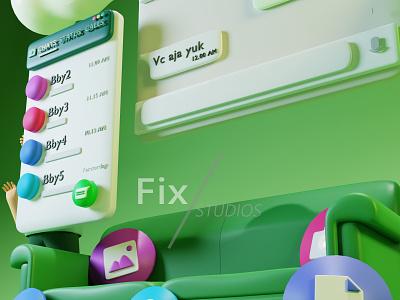 3D Illustration about Whatsapp Interface design art animation ux ui minimal icon illustration app graphic design branding