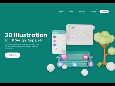 3D Illustration in Landing Page or Website illustrations illustration icon icons 3d icons 3d art 3d icon landing page 3d illustration
