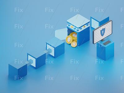 Blockchain Tech (3D Illustration) ux icon ux  ui uxui ui design uidesign ui  ux uiux ui 3d illustration illustrations illustration illustrator 3d