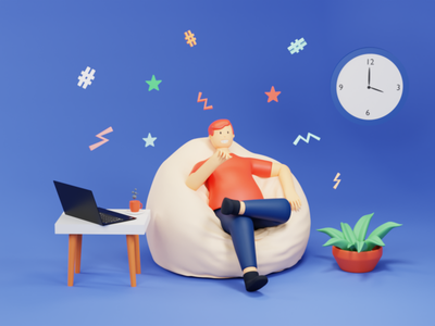 3D Illustration of relax with a cup of coffee landing design landing pag uidesign figma 3d icons 3d illustration