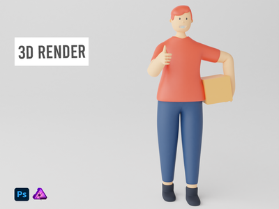 3D Render Illustration Man Bring a box and Thumbs Up