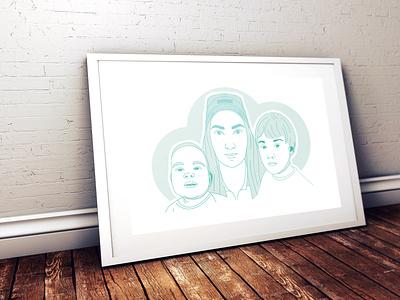 Personalised Family Portrait branding flat design lineart linework line linaertwork illustration minimal graphic design