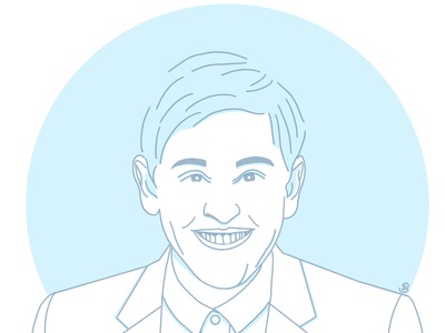 Ellen DeGeneres flat avatar icon art linework graphic design line flat line art illustration minimal design avatar icons