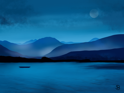 Digital art. Landscape art minimal hills landscape mountains illustration drawing sea fog night mode moonlight digital illustration digital painting digital