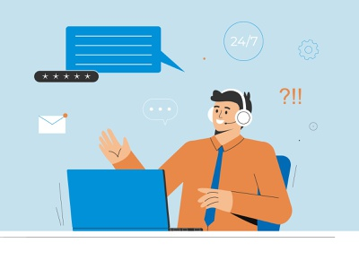 Support service support manager laptop character character design illustration vector flat landing support support page