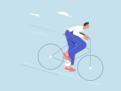 Cyclist character clouds transport eco friendly character design illustration vector flat hipster cycle bycicle