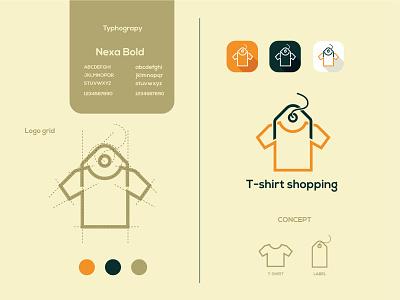 T-shirt shopping logo and brand identity luxury dress apparel clothing label t-shirt fashion flat logo minimalist logo modern logo logo design branding brand identity