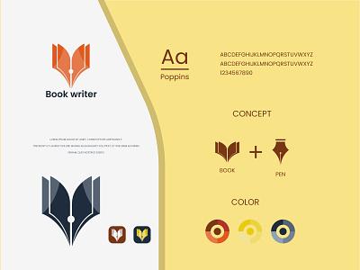 book writer logo and brand identity teach school education pen book book logo flat logo design modern logo minimalist logo modern logo logo design branding brand identity