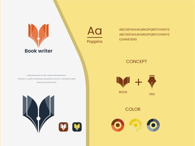 Book writer logo and brand identity design modern logo design university writer book pen pen school education book logo book flat logo minimalist logo modern logo logo design branding brand identity