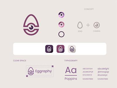 Eggraphy logo and brand  identity design logo egg photography photography egg flat logo minimalist logo modern logo logo design branding brand identity