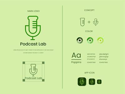 Podcast lab logo and brand identity design graphic design logo podcast logo podcast lab logo flat logo minimalist logo modern logo logo design branding brand identity