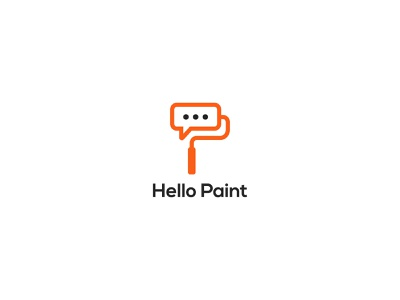 Hello paint logo and brand identity modern logo roller paint brush painting color chat hello paint brush brush paint flat logo minimalist logo modern logo logo design branding brand identity