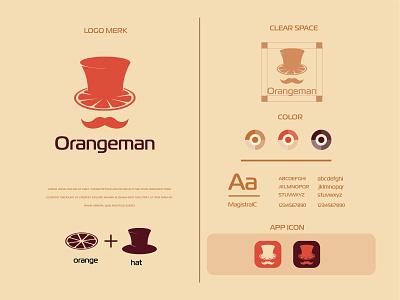 Orangeman logo and brand identity flat flat logo hat orangeman men cap man orange logo minimalist logo modern logo logo design branding brand identity