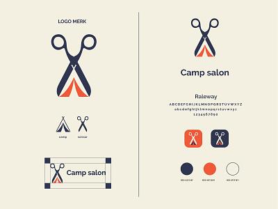 Camp salon logo and brand identity design scissor hair salon flat logo flat camp modern logo minimalist logo modern logo logo design branding brand identity