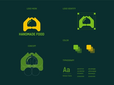handmade Food logo and brand identity restaurant foods handmade hand food design modern logo minimalist logo branding modern logo logo design brand identity