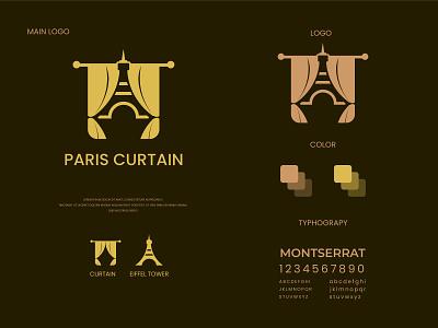 Paris curtain paris curtain eiffel tower paris flat logo design modern logo minimalist logo branding modern logo logo design brand identity
