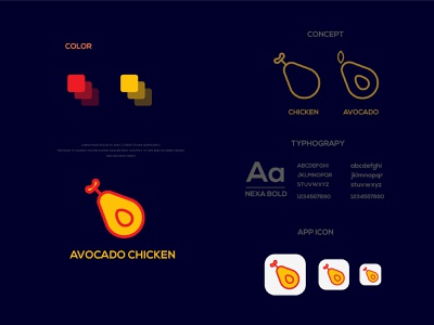 Avocado Chicken avocado chicken chicken avocado design modern logo minimalist logo branding modern logo logo design brand identity