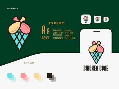 chicken cone food chicken cone flat minimalist logo branding modern logo logo design brand identity