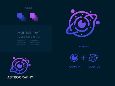 Astrography photography galaxy astronomy astrophotography cosmos astrography flat design modern logo minimalist logo branding modern logo logo design brand identity