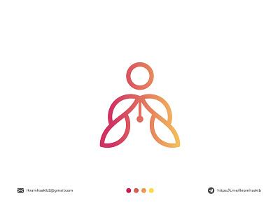 writer pen writer design modern logo minimalist logo branding modern logo logo design brand identity