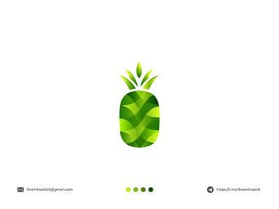 Pineapple organic natural food fruit design modern logo branding pineapple brand identity modern logo logo design