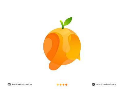 orange shop green natural professional fruit business company fresh design modern logo modern logo branding brand identity logo design orange