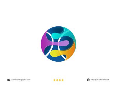 tennis flow professional game sport colorful fun ball modern logo modern logo branding brand identity logo design tennis flow