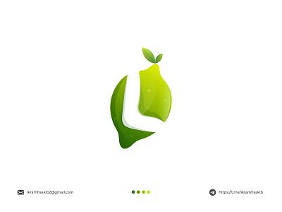 Lemon logomark logo mark l natural company business green fruit fresh graphic design lemon logo concept design modern logo modern logo branding brand identity logo design