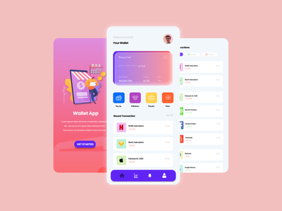 Wallet App mobile user interface uiux ui graphic design illustration design branding app animation