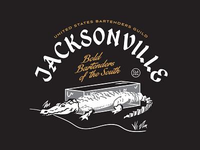 Frozen Gator florida 2-color typogaphy type illustration bartender ice gator alligator jacksonville usbg
