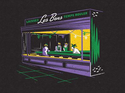 Laissez Les Bons Temps Cafe building nighthawks illustration art history nola new orleans madri gras
