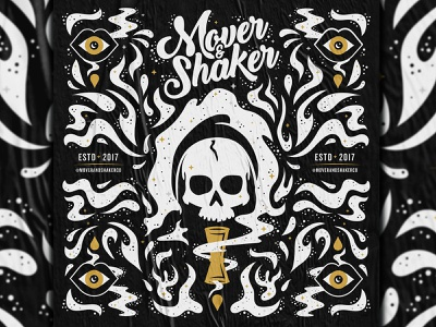 Mover & Shaker - Square Poster brand mover and shaker bartender mouth spirits skull 2-color poster square