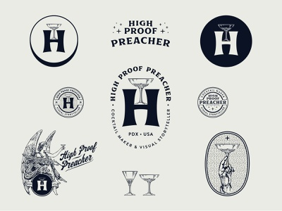 High Proof Preacher 1-color branding system badge lowdrag logos cocktails brand identity branding