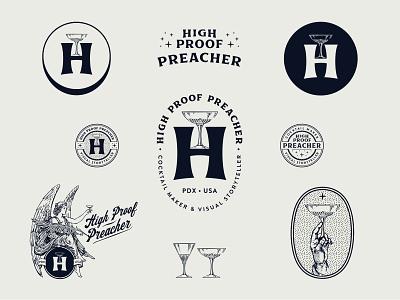 High Proof Preacher 1-color branding system badge lowdrag logos cocktails brand identity branding