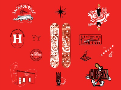 A Year in Review - III typography building beer 3-color plants badge open tiki snowboard logo branding illustration