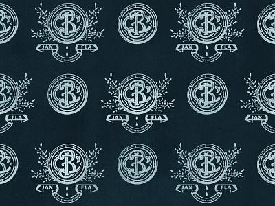 Bold City Bourbon Monogram 2-color illustration truegrittexturesupply florida barrel monogram badge jacksonville