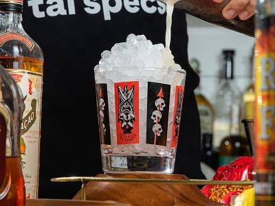 Mai Tai glass tiki bar branding illustration product design photoshoot photography 2-color glassware skulls tiki barware glass mai tai