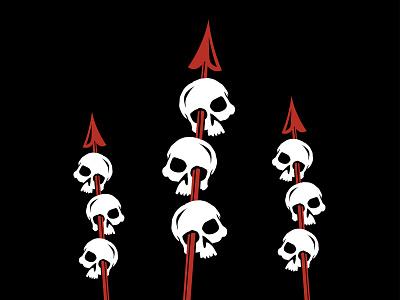 Mai Tai glass - II spear illustration 2-color skull tiki