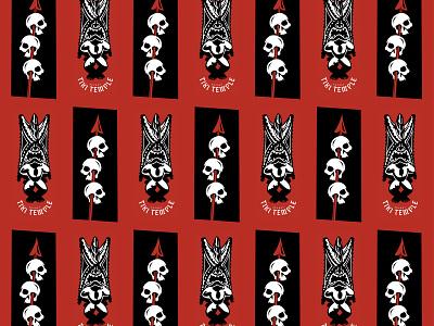 Mai Tai glass - III illustration pattern 3-color skulls tiki bar tiki