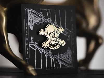 Death & Co. - I letterpress m.c. pressure mover and shaker badge gold bar barware package design illustration enamel pin pin pinbacks deathandco