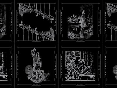 Death & Co. - II 1-color detailed monoline deathandco pin back card illustration bar letterpress