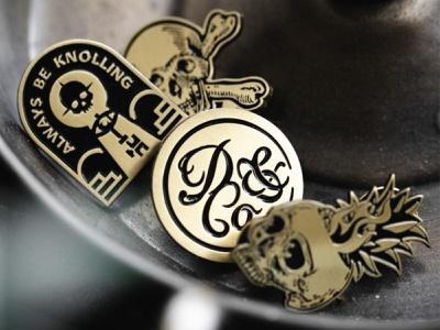 Death & Co. - III key bones death and company skull 2-color illustration gold enamel pin pin detailed