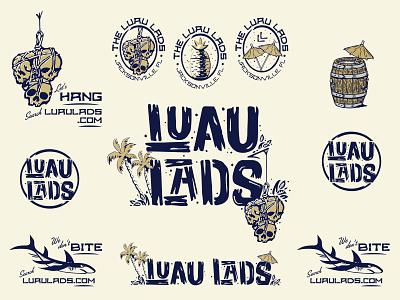 Luau Lads - II brand system tropical tiki badge shark skulls type handdrawn type logo design vector branding 3-color illustration